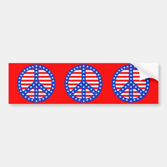 Stars & Stripes Peace Sign Bumper Sticker