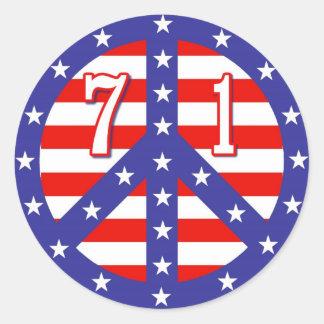 Stars & Stripes Peace Symbol 71 Round Sticker