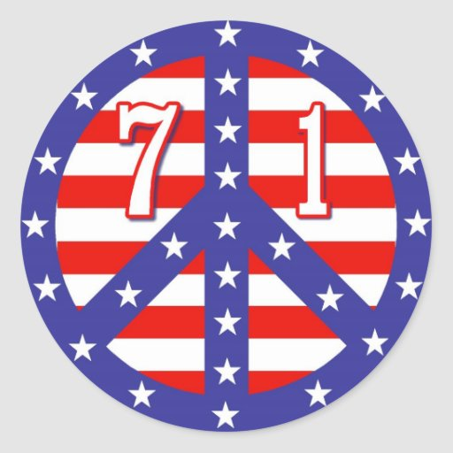 Stars & Stripes Peace Symbol 71 Round Stickers