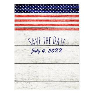 Stars Stripes Rustic Wood Patriotic Save the Date Postcard