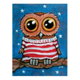 Stars & Stripes Wide Eyed Owl   Bird Art Postcard
