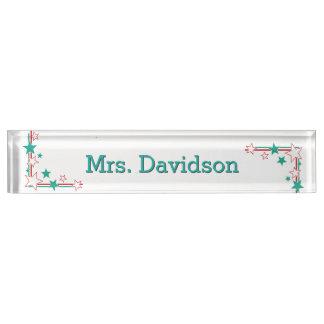 Stars Teacher's Custom Desk Nameplate