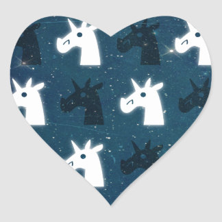 Stars Unicorn Pattern Heart Stickers