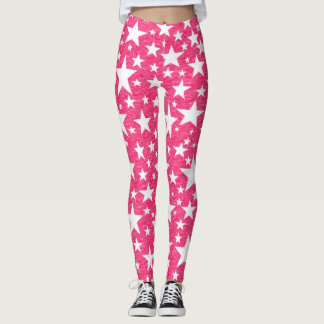 Stars with Hot Pink Background Leggings
