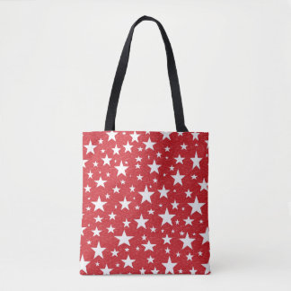 Stars with Red Background Tote Bag