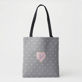 Stars Within Hearts on Gray All-Over-Print Bag