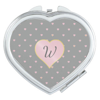 Stars Within Hearts on Gray Compact Mirror
