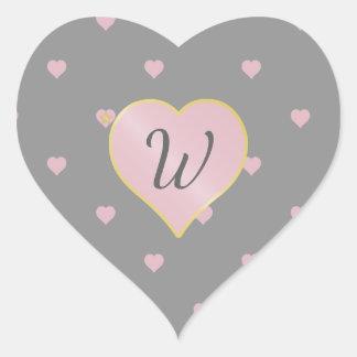 Stars Within Hearts on Gray Sticker