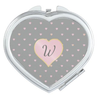Stars Within Hearts on Grey Compact Mirror