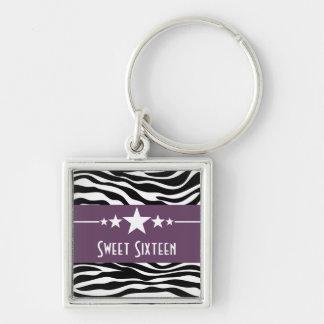 Stars Zebra Print Sweet 16 Keychain, Purple