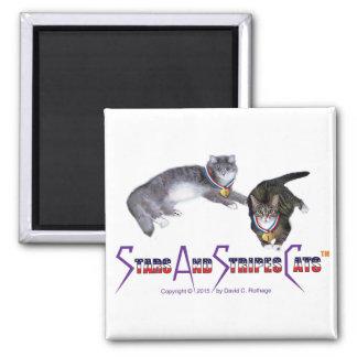 StarsAndStripesCats Magnets, 2 inch square Square Magnet