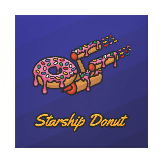 Starship Donut - Pink - Square Canvas Print