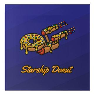 Starship Donut - Yellow - Square Acrylic Wall Art