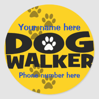 Start a dog walking business round sticker