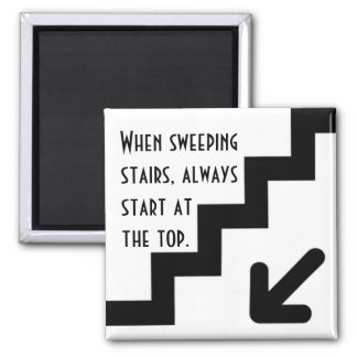 Start At The Top Square Magnet
