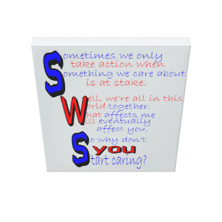 Start Caring Wrapped Canvas Gallery Wrap Canvas