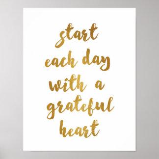 Start each day with a grateful heart - Art Print