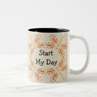 """""""Start My Day"""", orange & tan dragonflies Two-Tone Mug"""