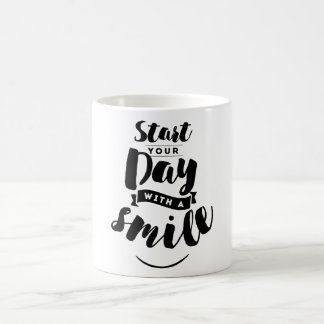 Start Your Day with a Smile Inspirational Quote Coffee Mug