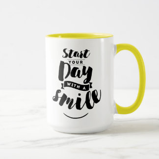 Start Your Day with a Smile Inspirational Quote Mug