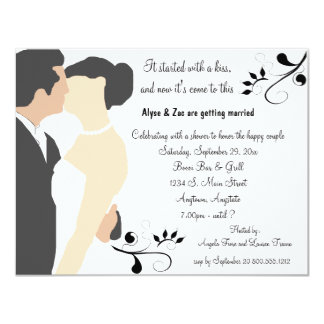 """Started With A Kiss White Bridal Shower Invitation 4.25"""" X 5.5"""" Invitation Card"""