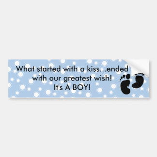 Started With A Kiss Wish Blue Custom Bumper Stickers