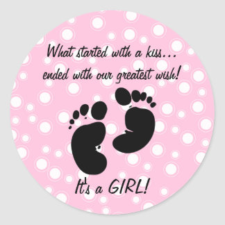 Started With A Kiss Wish Pink Custom Sticker