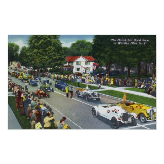 Starting Line at the Grand Prix Auto Race Poster