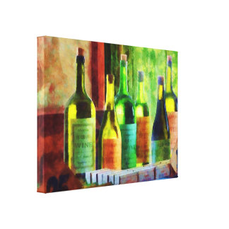 STARTING UNDER 100 - Bottles of Wine Near Window Gallery Wrapped Canvas