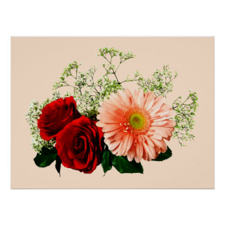 STARTING UNDER $20 - Gerbera Daisy And Two Roses Poster