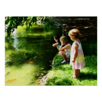STARTING UNDER $20 - Three Sisters Watching Koi Poster