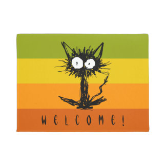 Startle Black Cat Doormat