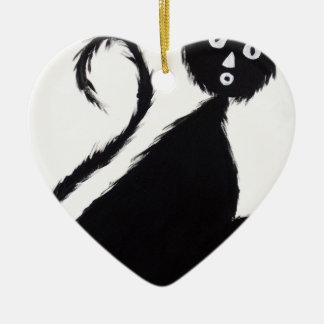 Startled Cat Ceramic Heart Decoration