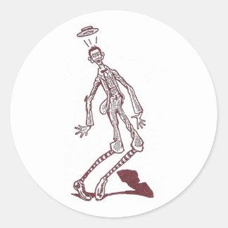 Startled Skinny Man Round Sticker