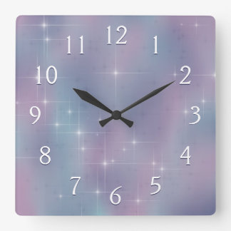 Stary Mauve and Teal Square Wall Clock