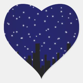 Stary Night Cityscape Heart Sticker