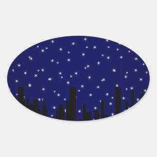 Stary Night Cityscape Oval Sticker