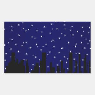 Stary Night Cityscape Rectangular Sticker