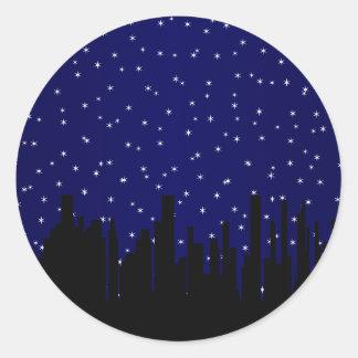 Stary Night Cityscape Round Sticker