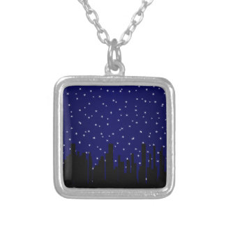 Stary Night Cityscape Silver Plated Necklace