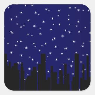 Stary Night Cityscape Square Sticker