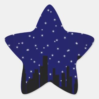 Stary Night Cityscape Star Sticker