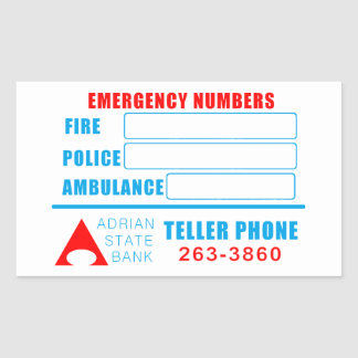 State Bank Emergency numbers sticker. Rectangular Sticker