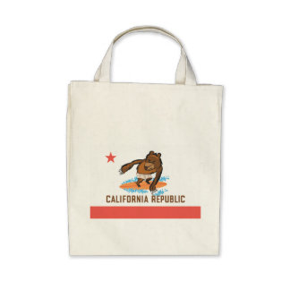State Bear goes Surfing Tote Bags