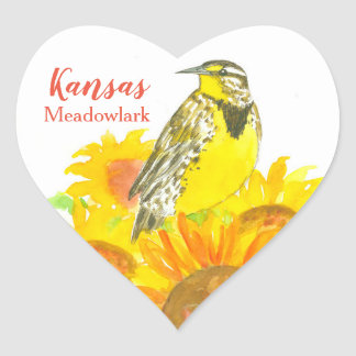 State Bird of Kansas Western Meadowlark Heart Sticker