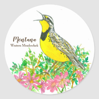 State Bird of Montana Western Meadowlark Songbird Classic Round Sticker