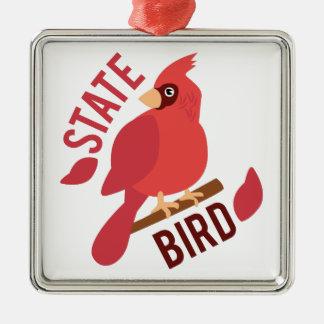 State Bird Silver-Colored Square Decoration