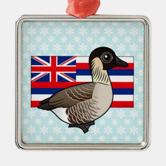 State Birdorable of Hawaii: Nene Square Metal Christmas Ornament