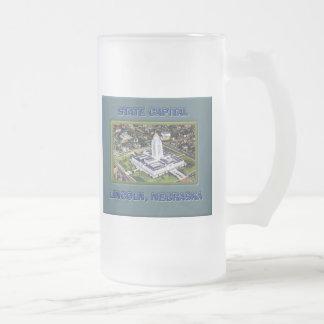 State Capital Lincoln Nebraska Frosted Glass Mug