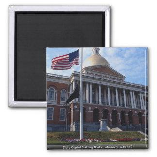 State Capitol Building, Boston, Massachusetts, U.S Square Magnet